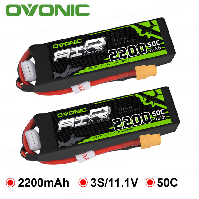 2X Ovonic 11.1V 2200mAh 50C-100C 3S LiPo Battery Pack with XT60 Plug for RC Quadcopter Airplane Multi-motor Hobby DIY Parts
