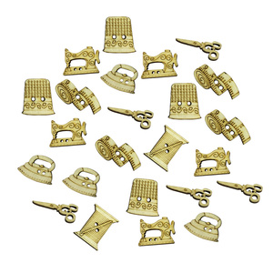 50PCS Wooden Buttons Scissor Shape Assorted Design Sewing Machine Buttons Snaps Press Studs for Crafts Scrapbooking Sewing