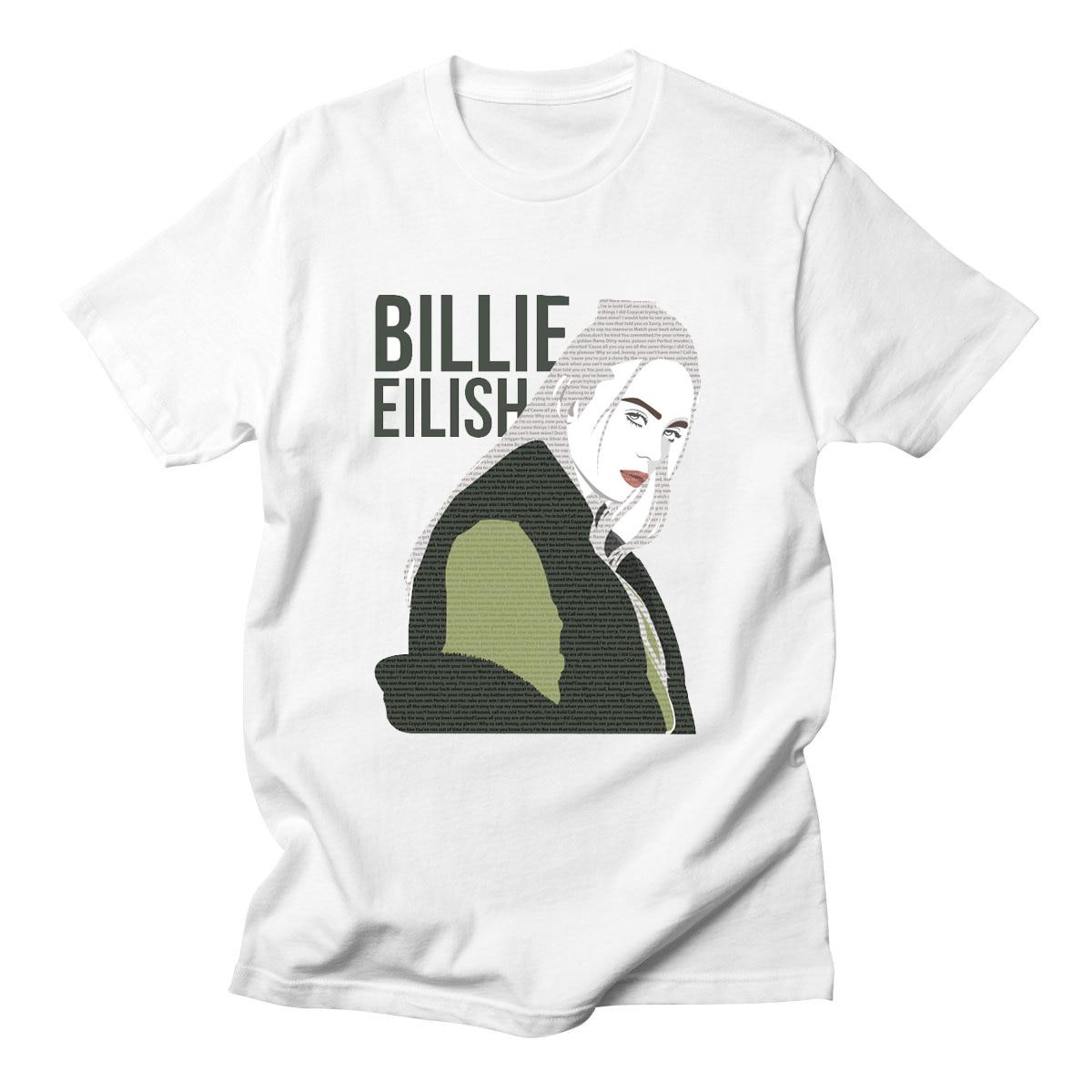 Billie Eilish California Singer Music Artist Album Cover Fan White T Shirt New Short Sleeve Streetwear T Shirts front ensemble shirt ideas