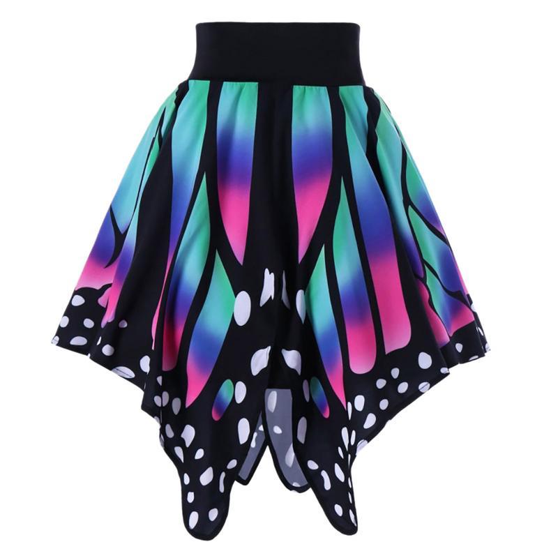 Vintage Fashion Women Mini Skirts Butterfly Pattern Elegant Irregular Hem Party Mini Skirts Elastic Waist Casual Skirt Wholesale