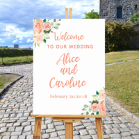 Rose Floral Wedding Welcome Sign,Welcome To Our Wedding White Guest Book Wedding Personalized Custom Wooden Gift For Couple