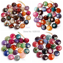 """Free Shipping 12,14.16.18,20mm Pretty Faceted Cracked Multicolor Agates Coin Shape Loose Beads Strand 15"""" Jewellery Making wj29"""