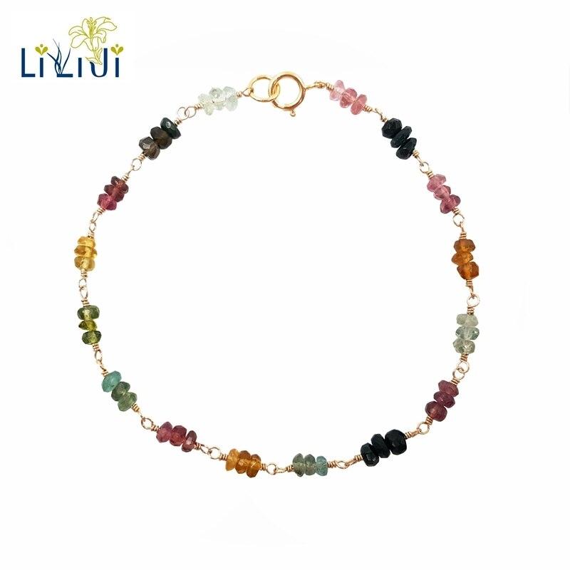 Lii Ji Bracelet Tourmaline arc-en-ciel pierre précieuse naturelle 925 argent Sterling plaqué or fait à la main Bracelet délicat bijoux de mode