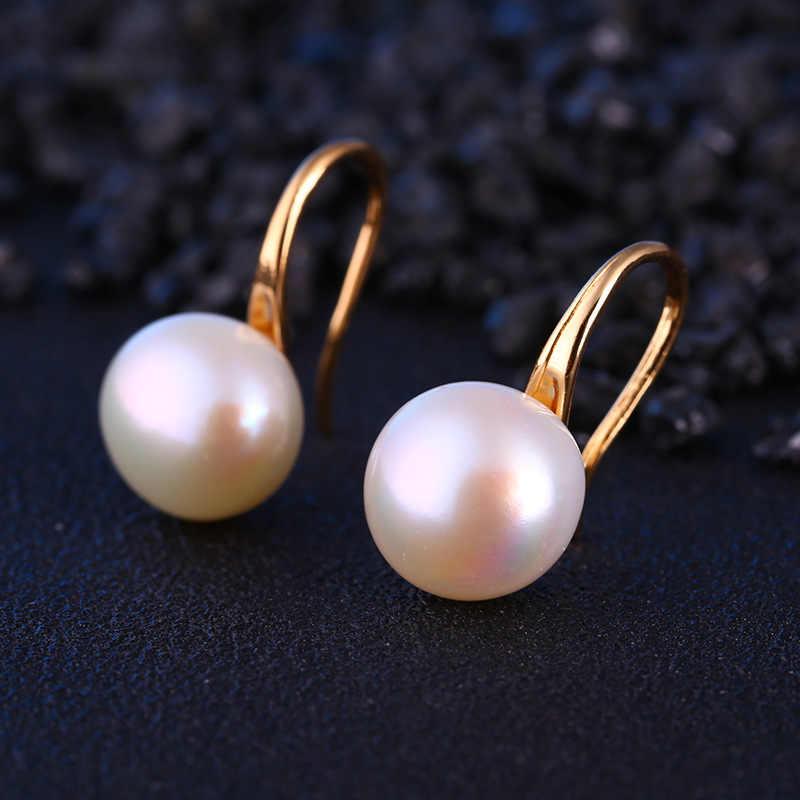 Perle femmes pendaison boucles d'oreilles une Direction tendance Boucle D'oreille Femme fête de mariage mode ronde perle bijoux en gros
