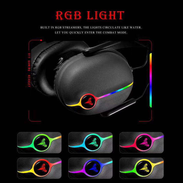 Gaming Headset Earphone Shock Bass High-End Luminous Electric Race 7.1 Audio Channel Wired Computer Headset 5