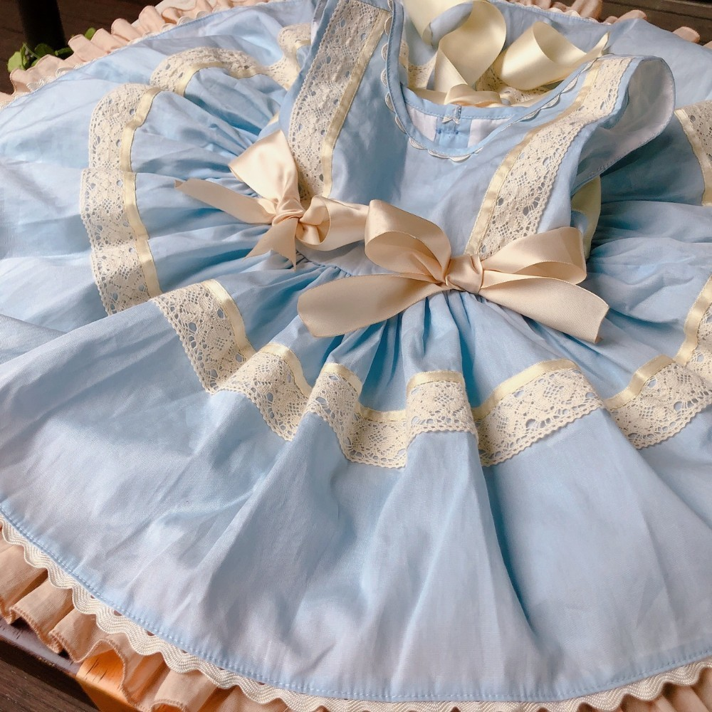 summer girl party Dress vintage lace bow baby princess Dress fancy party birthday kids dresses for