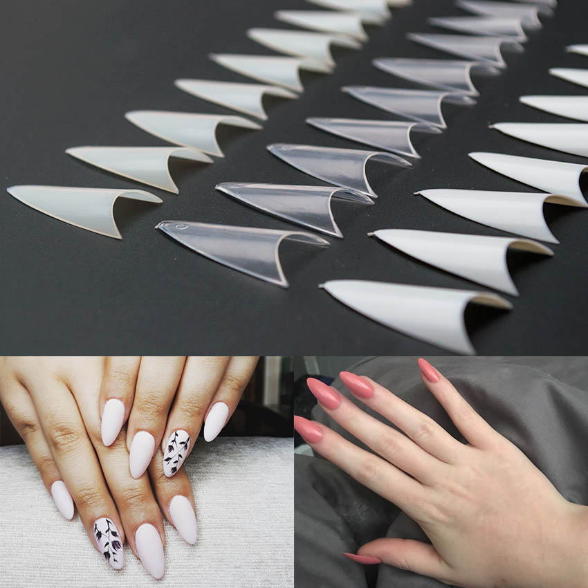 100PCS/Pack False Nail Natural /Clear/White Stiletto Sharp French Acrylic Artificial False Nail Tips Design Decoration JZJ3011