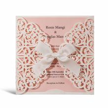 1pcs Square Laser Cut Wedding Invitations, Handmade Lace Ribbon Blank Quincenera Birthday Cards with Envelopes and Pink Insert недорого