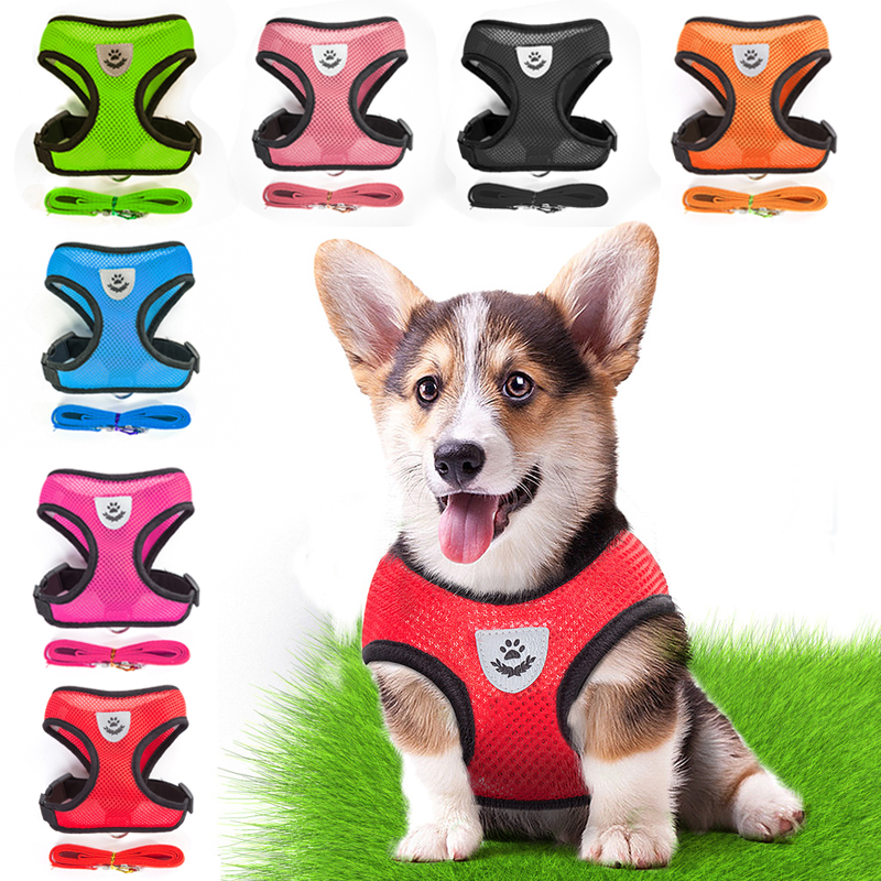 Dog Collars & Leads Nylon Dog Harness Walking Puppy Vest Small Medium Dogs Reflective Mesh Pet Supplies Lead Leash 1pc Pug For Chihuahua Products Hot Sale Home & Garden