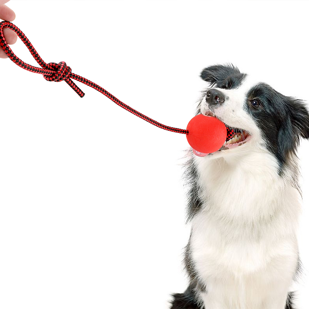 Pet Ball Dog Chew Toys For Puppy Pet Playing Training With Tug Rope Handle Solid Rubber Ball Tooth Cleaning Dog Supplies