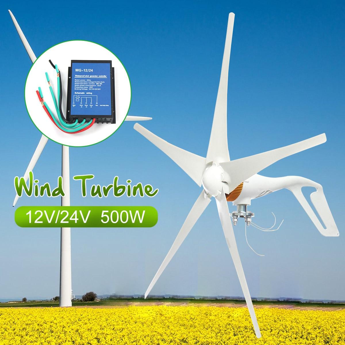 2018 12 V/24 V 500 W 5 Lames Éoliennes Générateur D'énergie AC Miniature Vent Turbines Maison D'habitation avec L'extérieur Contrôleur