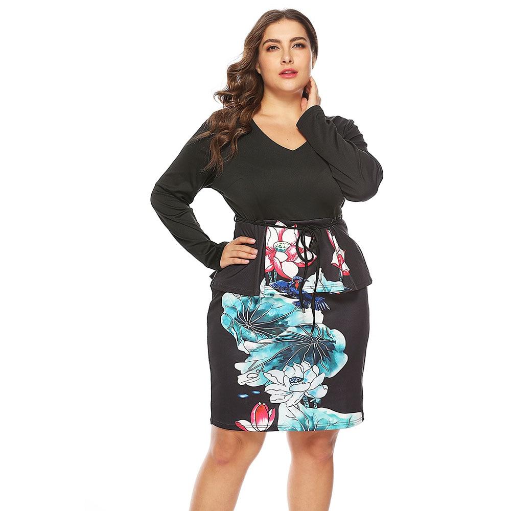 US $15.9 48% OFF|Wipalo Plus Size V Neck Long Sleeve Lotus Print Semi  Formal Dress Casual Knee Length OL Dress Elegant Partly Dress 5XL  Vestidos-in ...