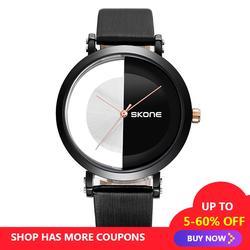Творческий женские часы черный и белый цвета часы для отдыха Простой Личность кварцевые наручные Бесплатная доставка Распродажа