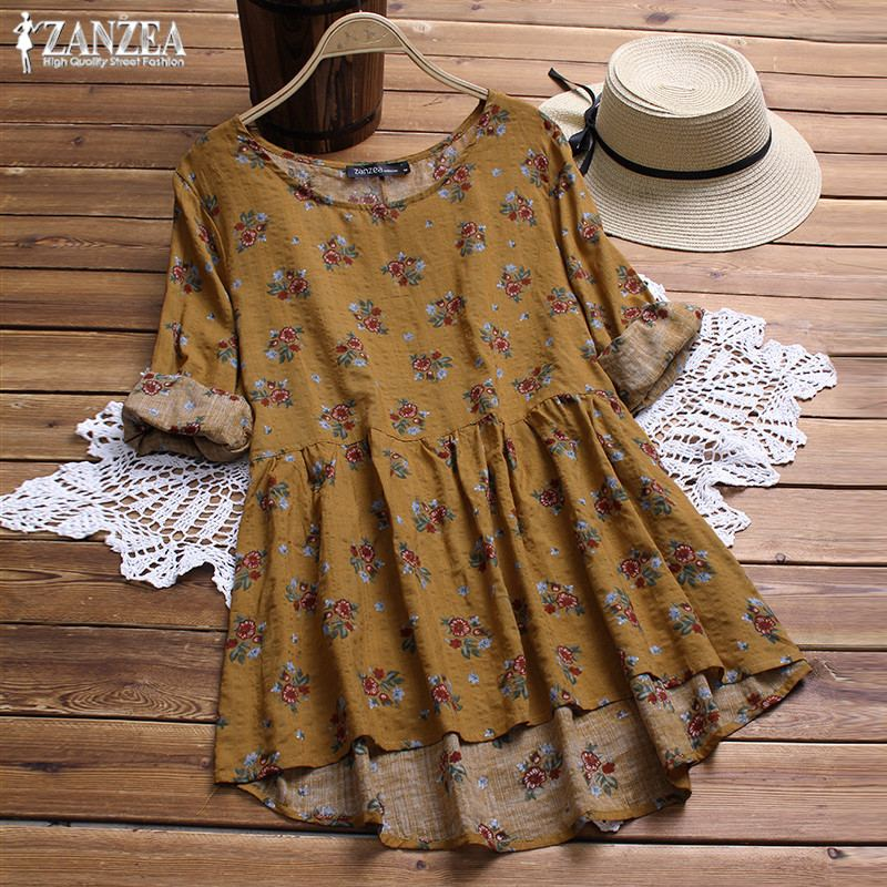 Boho Shirts 2019 ZANZEA Women's Print Blouse Female Vintage Floral Linen Blusas Long Sleeve Pleated Shirt Plus Size Tunic Tops