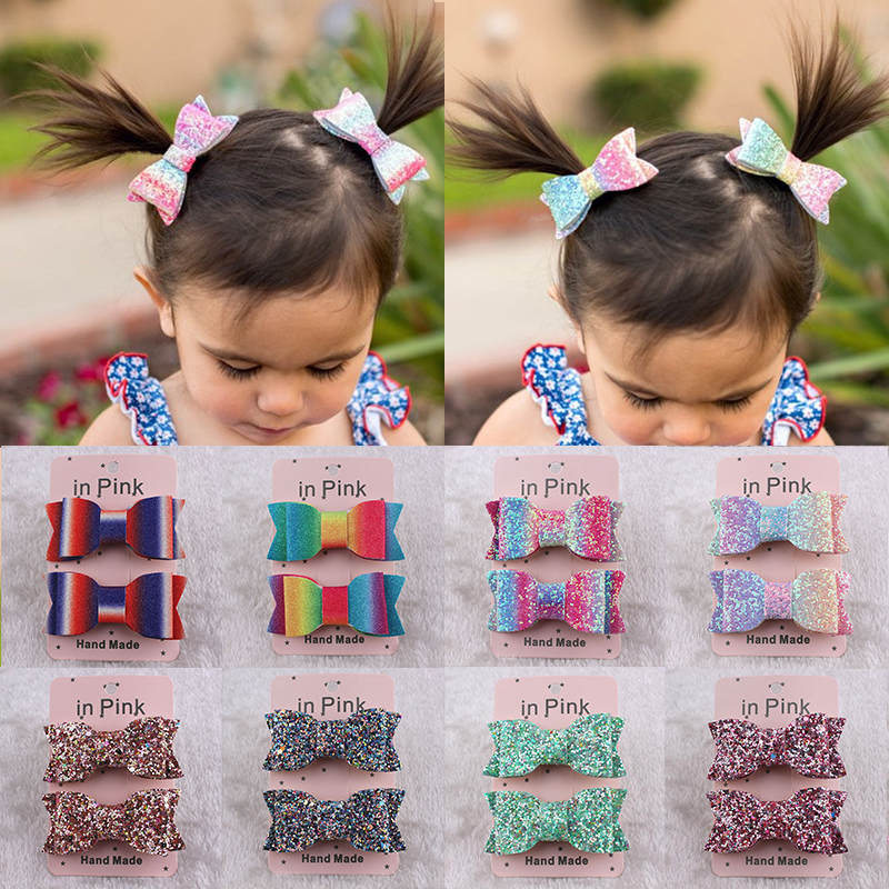 Fashion 1Set Glitter Bows Baby Girl Hair Clips Handmade Kids Hairpins Barrettes Shiny Glitter Hair Clips   Headwear