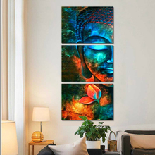Canvas Wall Art Pictures Home Decor Living Room Framework 3 Pieces Abstract Blue Buddha Portrait Paintings Printed Flower Poster