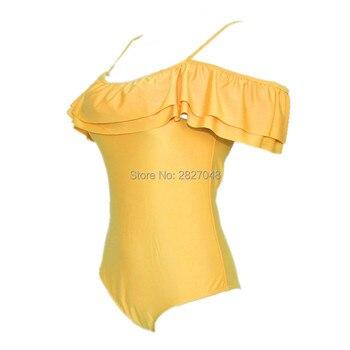 2019 Women Sexy Off Shoulder Ruffles Swimwear Solid Yellow Black One Piece Swimsuit Bandeau Bathing Suit Beachwear Bodysuit