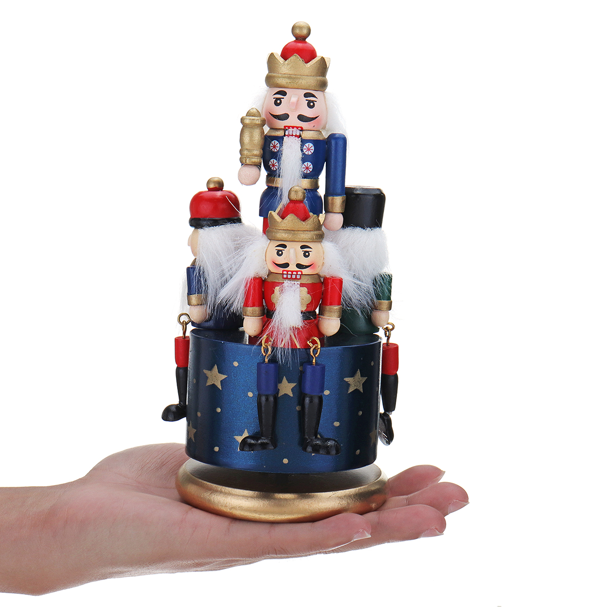 Wooden Guard Nutcracker 4 Soldier Toy Music Box Christmas Decor Christmas Gift 21cm Wooden Nutcracker Doll Puppet Music Boxes Солдат