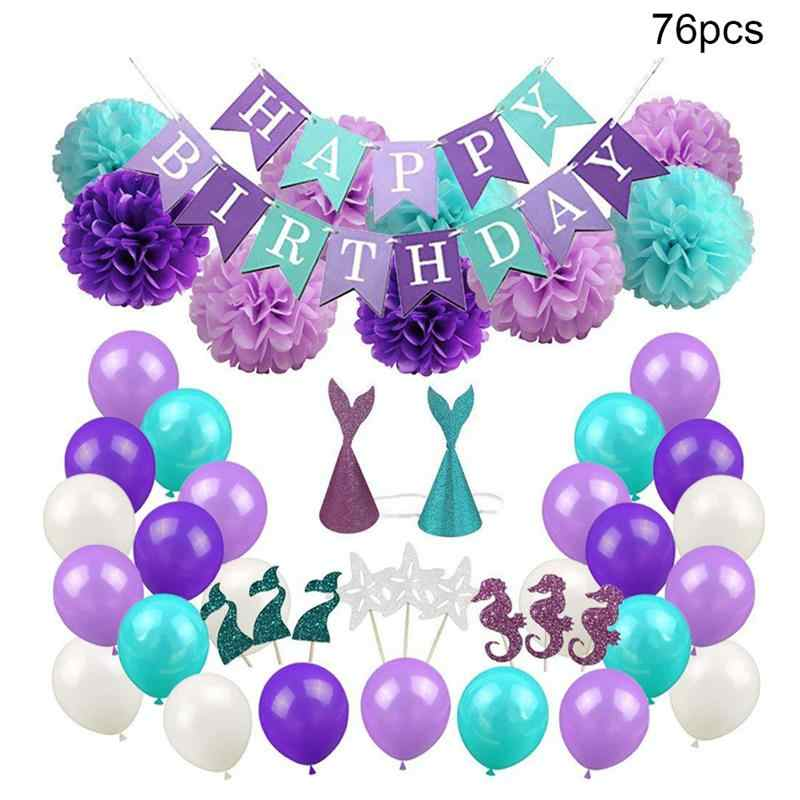76Pcs/Pack Mermaid Themed Party Balloons Paper Flower Ball Banner Topper Hat Balloons For Wedding Birthday Party Decoration