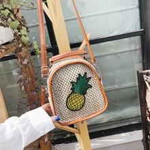 Female Straw Beach Bag Crossbody Bags For Women 2019 Summer Pineapple Designer Handbags Ladies Rattan Shoulder Messenger Sac