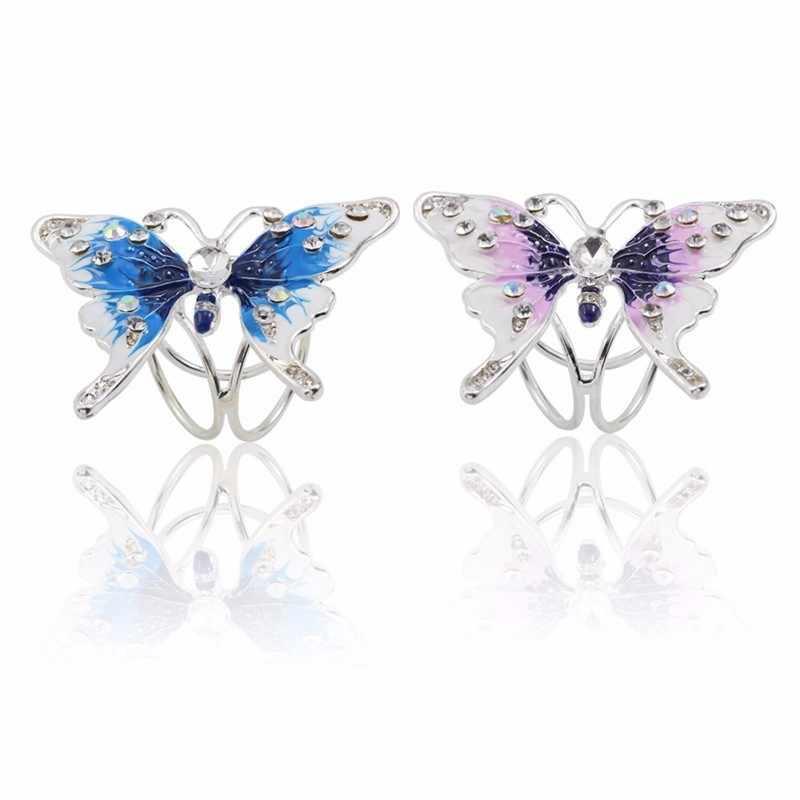Bohemia Butterfly Bros Syal Gesper Buket Mewah Colorful Rhinestone Syal Klip untuk Wanita BoHo Natal Perhiasan Bros