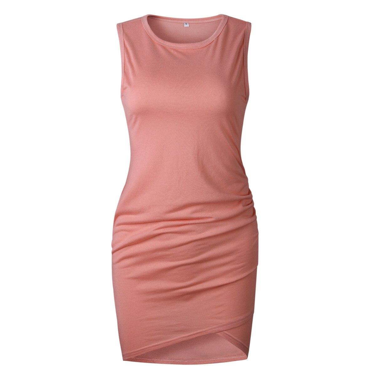 Femmes robe à manches courtes couleur unie Sexy col rond irrégulière femmes vêtements robe de soirée Vestido Mujer