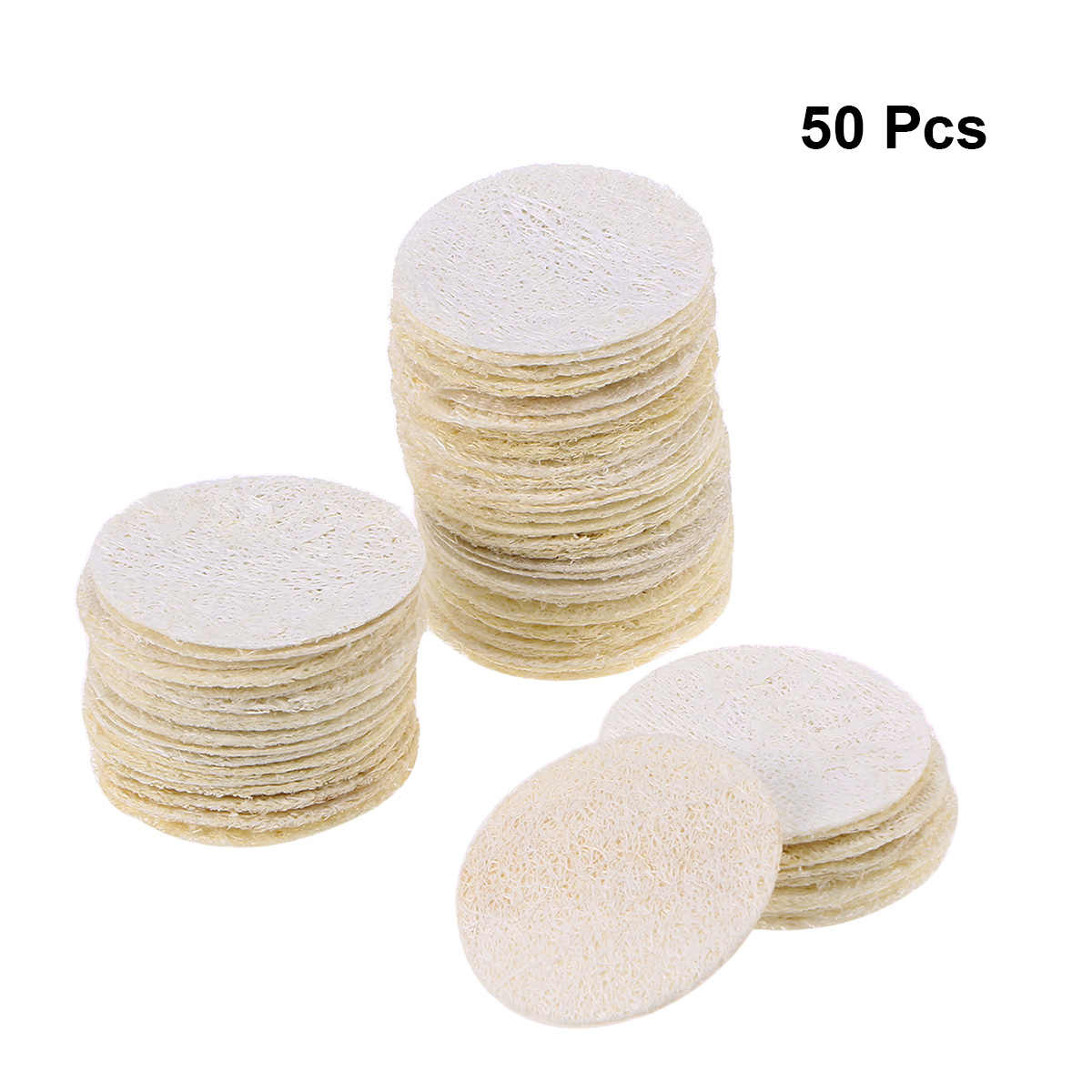 50pcs Round Reusable Loofah Scrubbing Exfoliating Facial Makeup