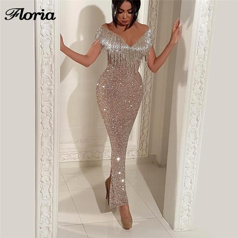 New Glitter Tassel Mermaid Evening Dresses Robe de soiree Aibye Muslim Turkish  Dubai Long Prom Dress 0fc35151b24a