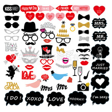 69pcs  Photo Booth Props DIY Mr Mrs Photobooth Accessories Wedding Event Party Supplies