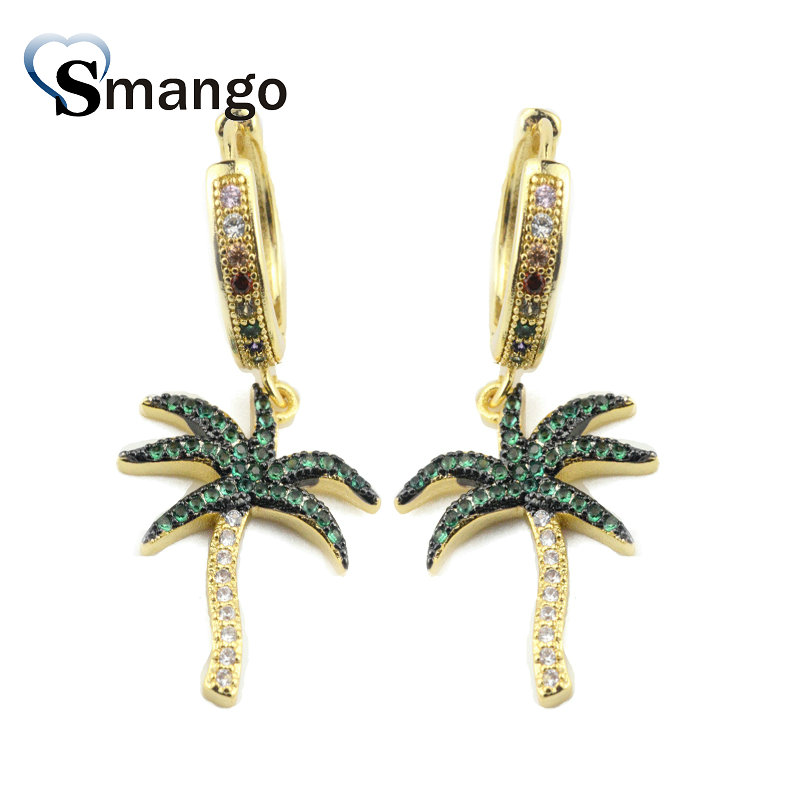 5Pairs Women Fashion Jewelry The Rainbow Series The Coconut Palm Shape Earrings GoldColors Can Wholesale in Hoop Earrings from Jewelry Accessories