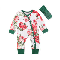 2PCS Pudcoco Newborn Infant Kid Baby Girl Button Romper Floral Outfit Autumn Headband Set Clothes