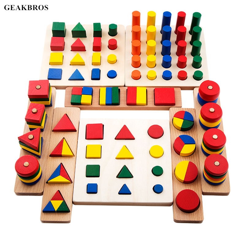 8 in 1 Montessori Toys Kids Wooden Geometric Block Shape Cogntion Teaching Educational Toy Children Brinquedos
