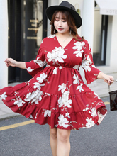 MINSUNDA Plus Size Floral Print Ruffle Hem Wrap Dress Women Casual V Neck Short A Line Dresses Elegant Flounce Sleeve Mini Dress