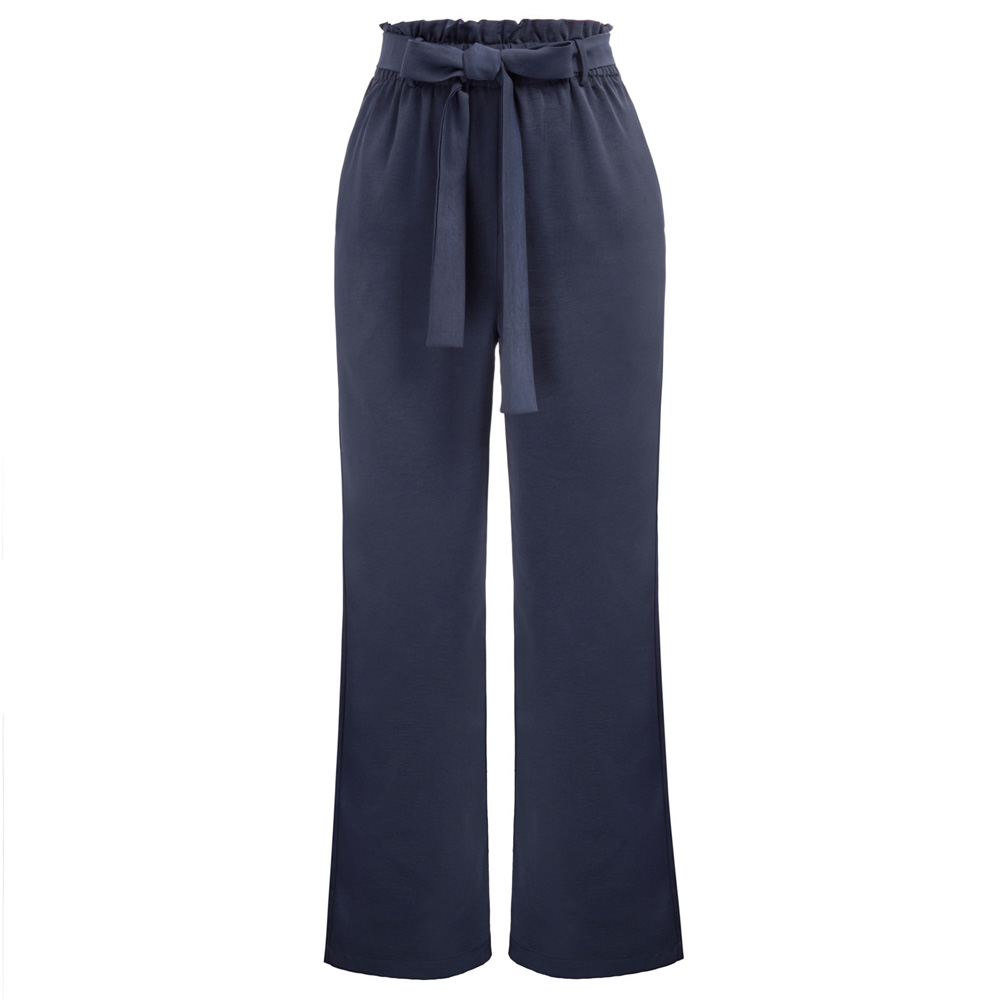 Casual Women   Pants   Elastic Waist Belt Decorated   Wide     Leg     Pants   Trousers With Pocket