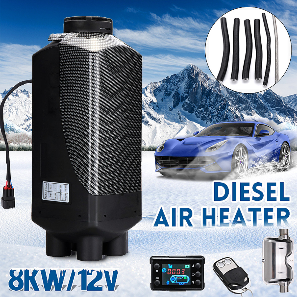 Автомобильный обогреватель 12 В 8 кВт парковочный воздух Дизели нагреватель ЖК-монитор 4 отверстия с пультом дистанционного управления + глу...