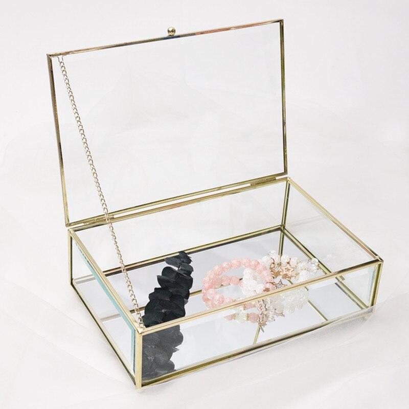 Europe Style Rétro Bronze Hexagonal boîte à bijoux en verre gâteau présentoir bague de fiançailles Bijoux Éternelle bacs à fleurs Couverture