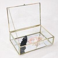 Europe Style Retro Bronze Hexagonal Glass Jewelry Box Dessert Cake Display Box Wedding Ring Jewelry Eternal Flower Boxes Cover