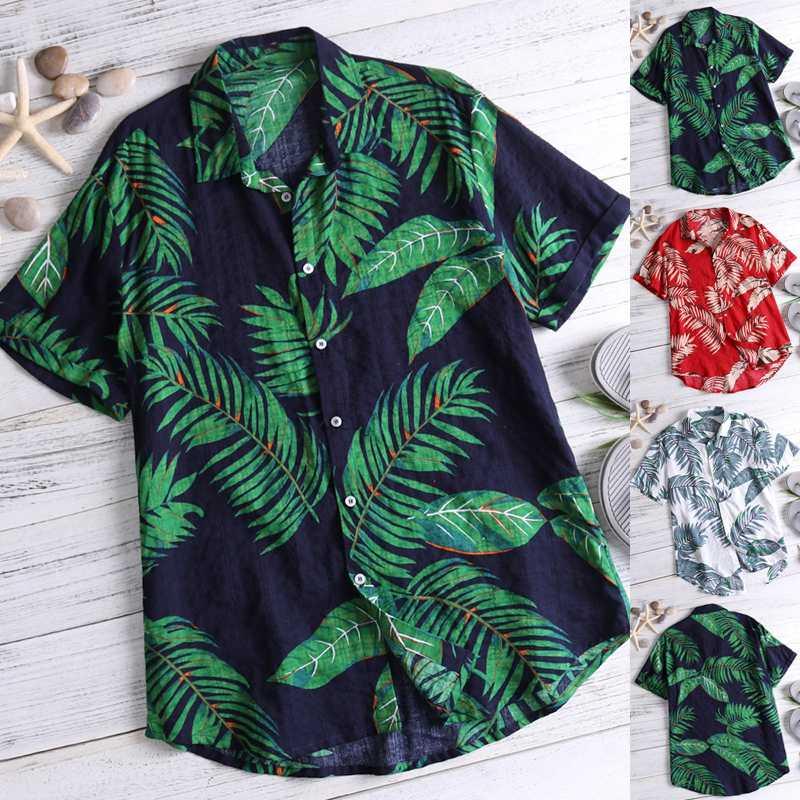 INCERUN Summer Print Men Hawaiian Shirt Short Sleeve Streetwear Tops Casual Holiday Women Beach Shirts Camisa Masculina 2019 5XL