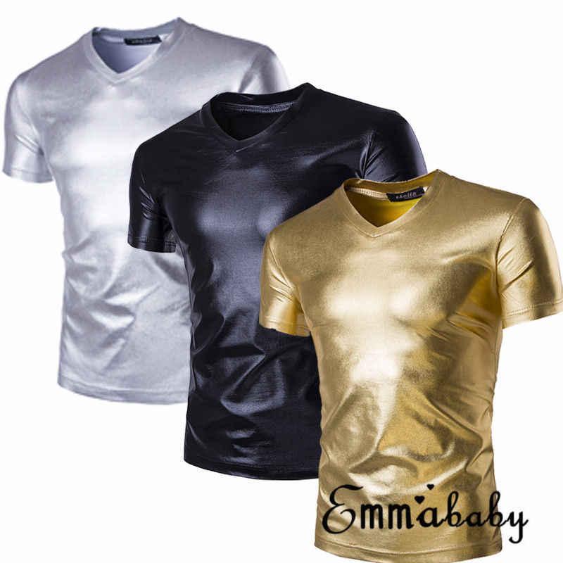 Erkek Elastik T Shirt Seksi Faux Deri Sıkı Ince Üst kısa kollu tişört Üstleri Spor Kas Adam T Shirt