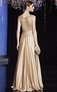 Image 3 - 安いサテンゴールドロイヤルブルーイブニングドレスのエレガントなフォーマルパーティー母のための花嫁のドレスプラスサイズ
