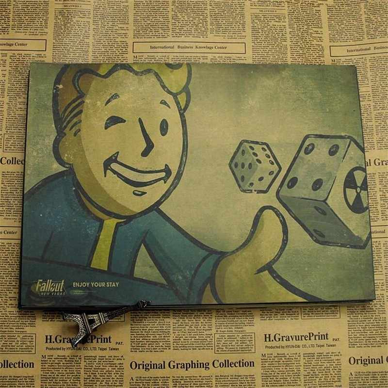 Wall Decor Fallout 3 4 เกมโปสเตอร์เด็กตกแต่งห้องพักหน้าแรกตกแต่งเกมวาด Retro กระดาษคราฟท์ Vintage กำแพงสติกเกอร์ decals
