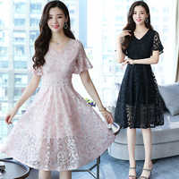2019 Spring New Solid Color Retro Lace Dress 2XL Large Size Was Thin Temperament Over The Knee Long Dress Women V Neck Vestidos