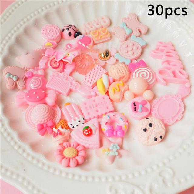 30 Pieces Cute Slime Charms Mixed Pink Series Beads Resin Mucus