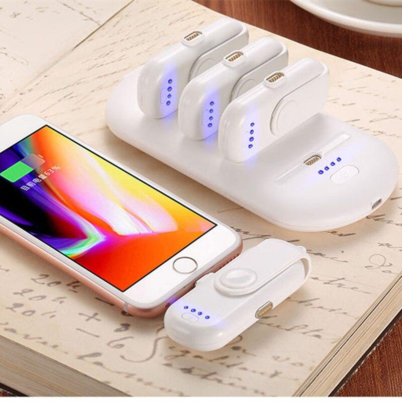 Portable mini batterie externe 5 FingerPow Magnétique De Charge pour iPhone Samsung Micro Type C téléphone Portable Powerbank Chargeur Doigt Pow