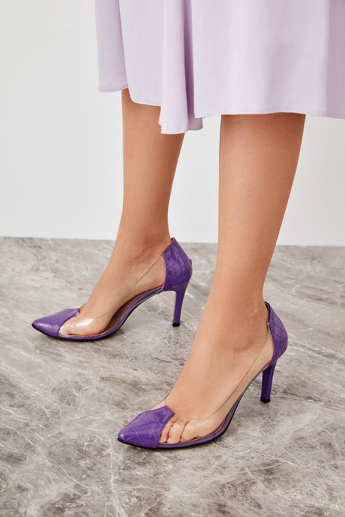 Trendyol Purple Kroko Transparent Detailed Women Heels Shoes TAKSS19GA0105