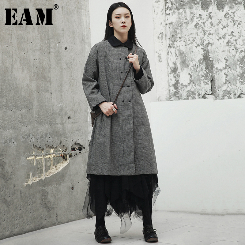 [EAM] 2019 New Spring Summer Round Neck Long Sleeve Plaid Printed Loose Long Big Size Windbreaker Women Trench Fashion JR486