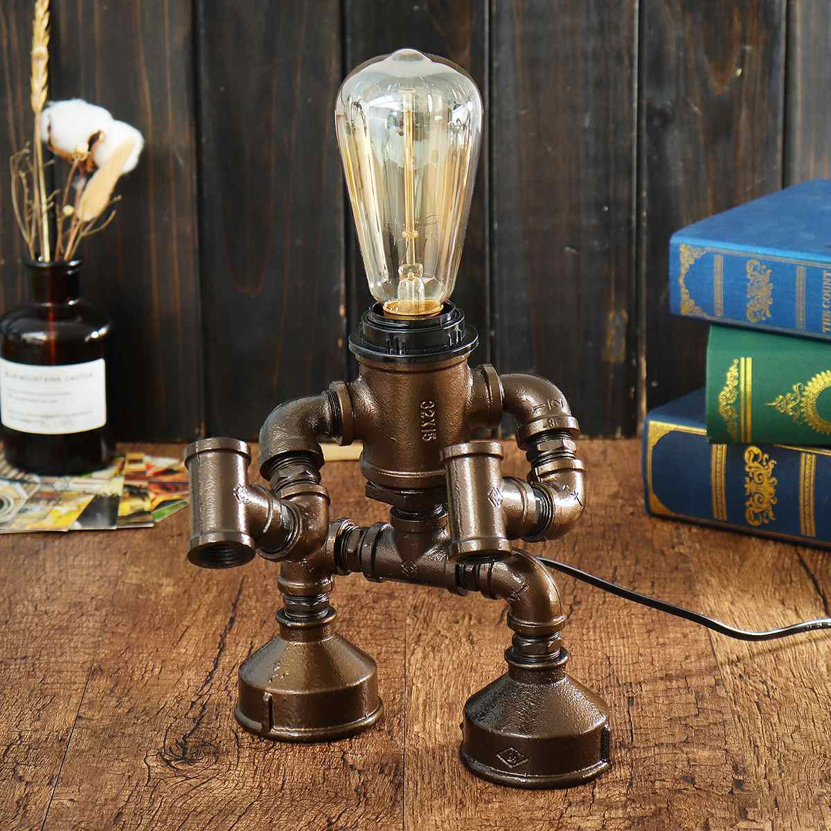 Industrial Robot Light Water Pipe Steampunk Table Lamp Vintage Bedroom Desk Lantern Fixture Indoor Lighting E27 Home DecorationIndustrial Robot Light Water Pipe Steampunk Table Lamp Vintage Bedroom Desk Lantern Fixture Indoor Lighting E27 Home Decoration