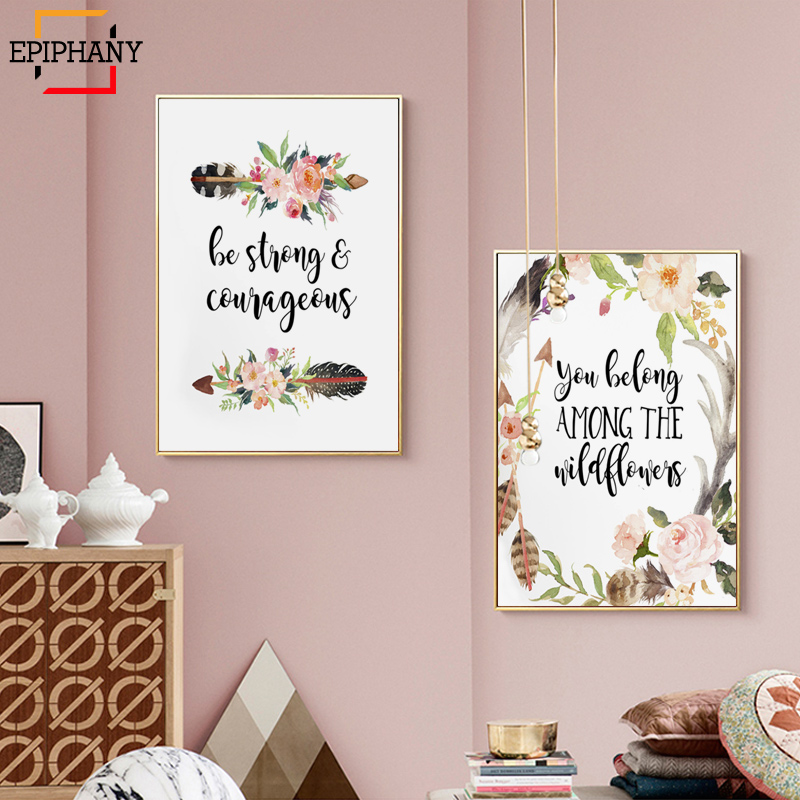 Nursery Wall Art Floral Print Thank Heaven for Little Girls Quotes Bible Verse Prints Canvas Painting for Baby Kids Room Decor(China)