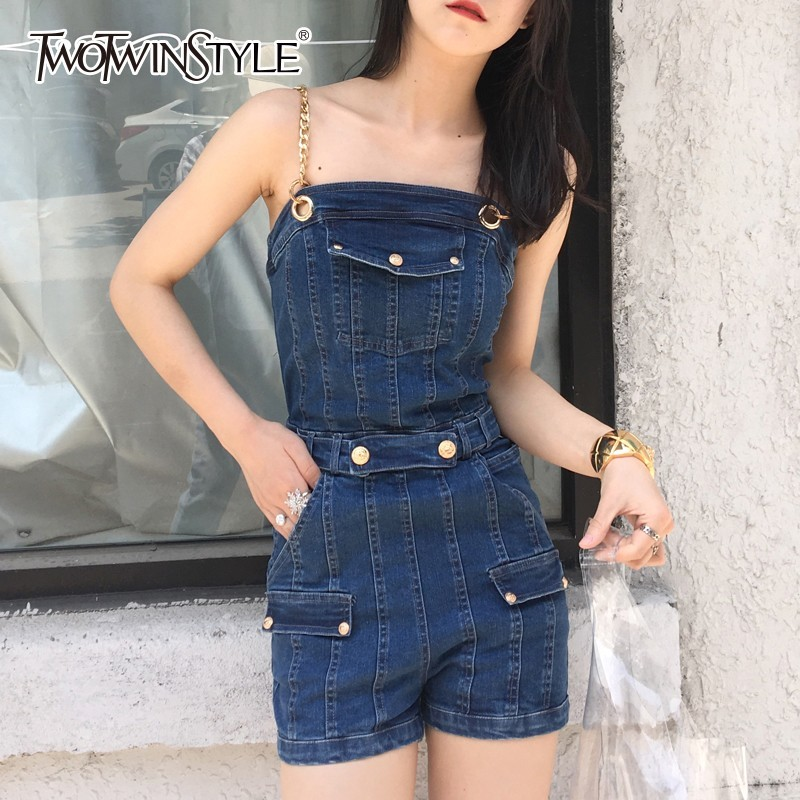 TWOTWINSTYLE Denim   Jumpsuits   Female Strap Sleeveless High Waist Zipper Women's Playsuits Summer 2019 New Fashion Streetwear