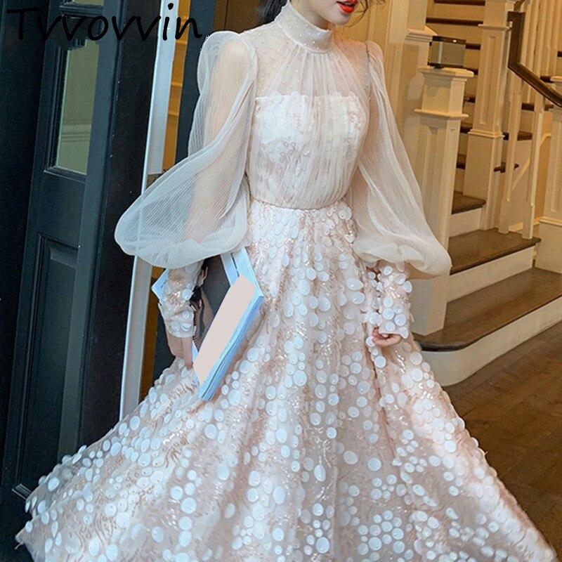 Robes en maille femme col montant à manches longues taille haute Patchwork paillettes perles robe femme 2019 printemps automne E308
